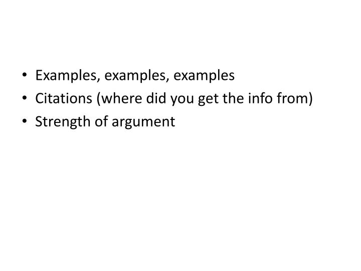 Examples, examples, examples