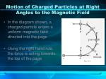 motion of charged particles at right angles to the magnetic field