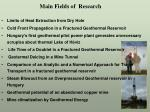 main fields of research