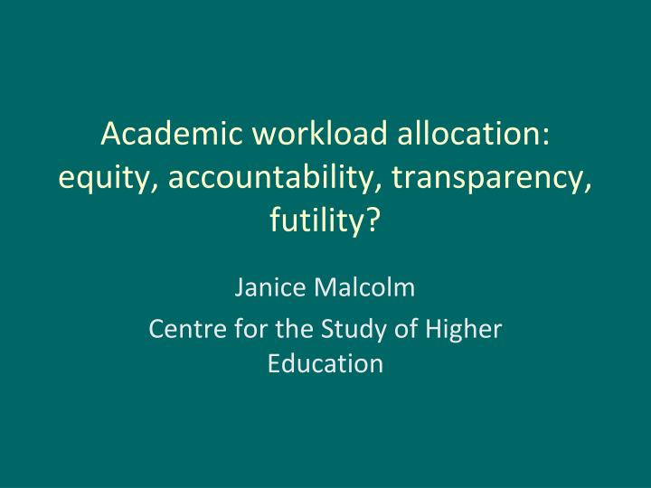 academic workload allocation equity accountability transparency futility n.