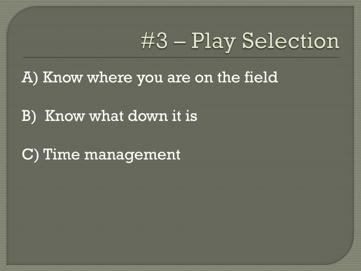 #3 – Play Selection