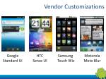 vendor customizations