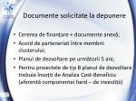 documente solicitate la depunere