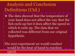 analysis and conclusion definitions ctd