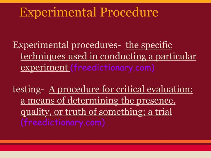 experimental procedure n.