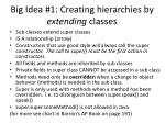 big idea 1 creating hierarchies by extending classes