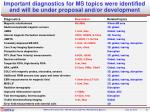 important diagnostics for ms topics were identified and will be under proposal and or development