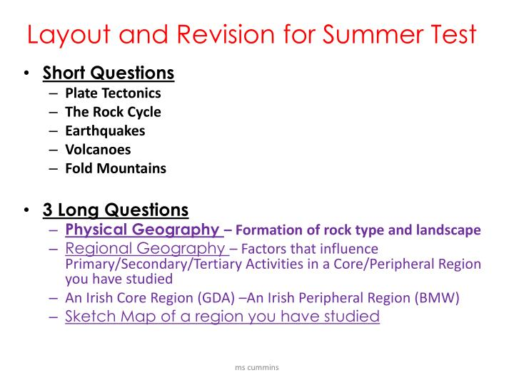layout and revision for summer test n.