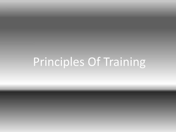 principles of training n.