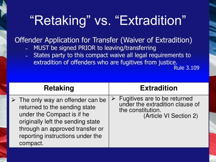 retaking vs extradition n.