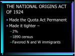 the national origins act of 1924
