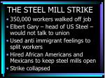 the steel mill strike