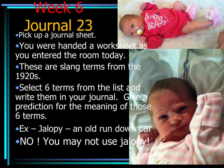 week 6 journal 23 n.