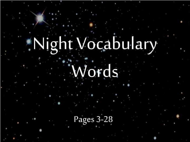 night vocabulary words n.