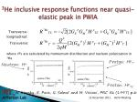 3 he inclusive response functions near quasi elastic peak in pwia