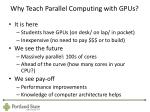 why teach parallel computing with gpus