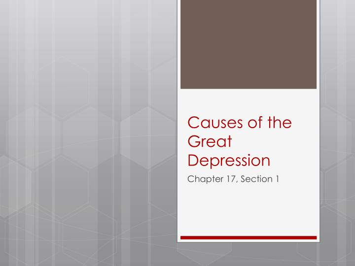 causes of the great depression n.