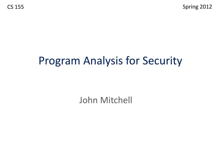program analysis for security n.
