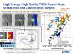 high energy high quality tnsa beams from microcones and limited mass targets