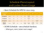 schedule plans layout and locker room usage