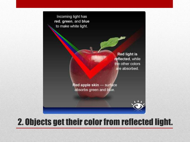2. Objects get their color from reflected light.