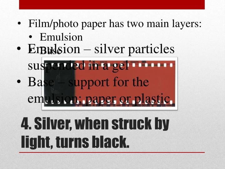 Film/photo paper has two main layers: