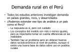 demanda rural en el per