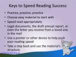 keys to speed reading success