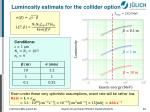 luminosity estimate for the collider option