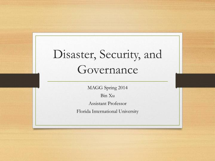 disaster security and governance n.