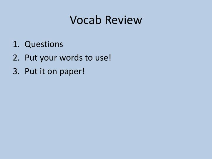 vocab review n.