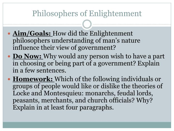 the enlightenment philosophers what was their