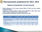 macroeconomic projections for 2013 2014 balance of payments current account