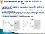 macroeconomic projections for 2013 2014 gdp