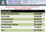 original revenue projection for esplost ii developed fall 2009