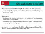 who participates in the nci