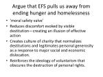 argue that efs pulls us away from ending hunger and homelessness