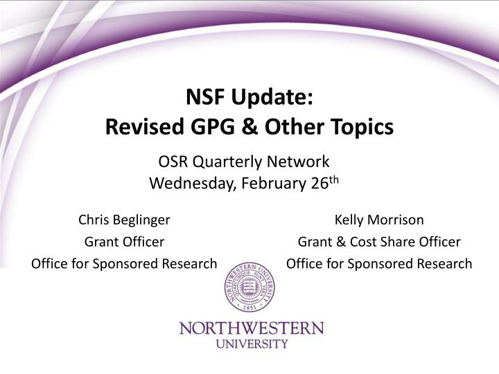 nsf update revised gpg other topics n.