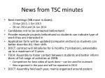 news from tsc minutes