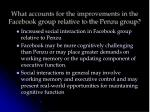 what accounts for the improvements in the facebook group relative to the penzu group