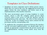 templates in class definitions