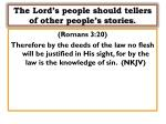 the lord s people should tellers of other people s stories