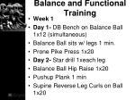 balance and functional training