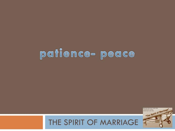 the spirit of marriage n.