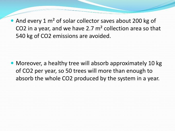 And every 1 m² of solar collector saves about 200 kg of CO2 in a year, and we have 2.7 m² collection area so that 540 kg of CO2 emissions are avoided.