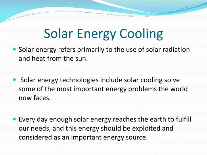 Solar Energy Cooling