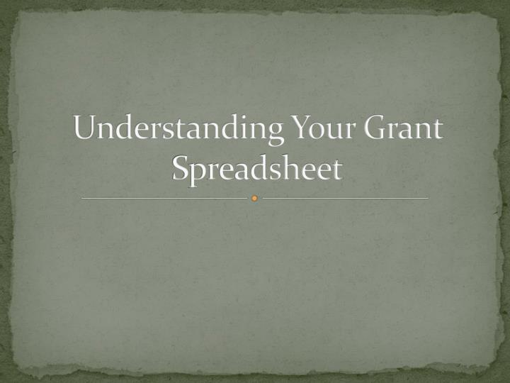 understanding your grant spreadsheet n.