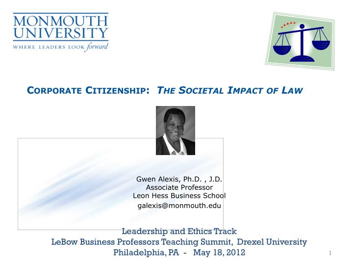 corporate citizenship the societal impact of law n.