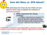 how did mass vs epa about