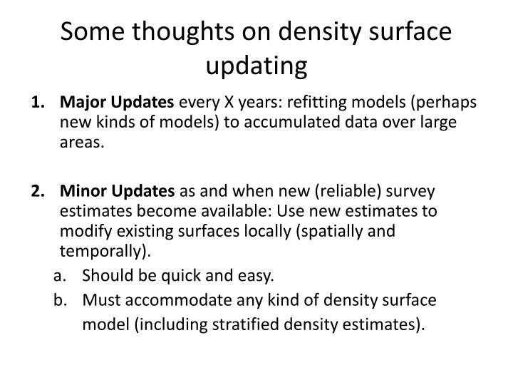 some thoughts on density surface updating n.